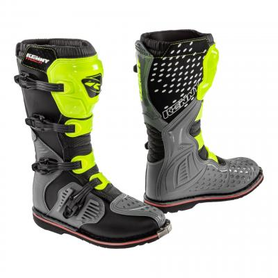Bottes cross Kenny Track gris/jaune fluo