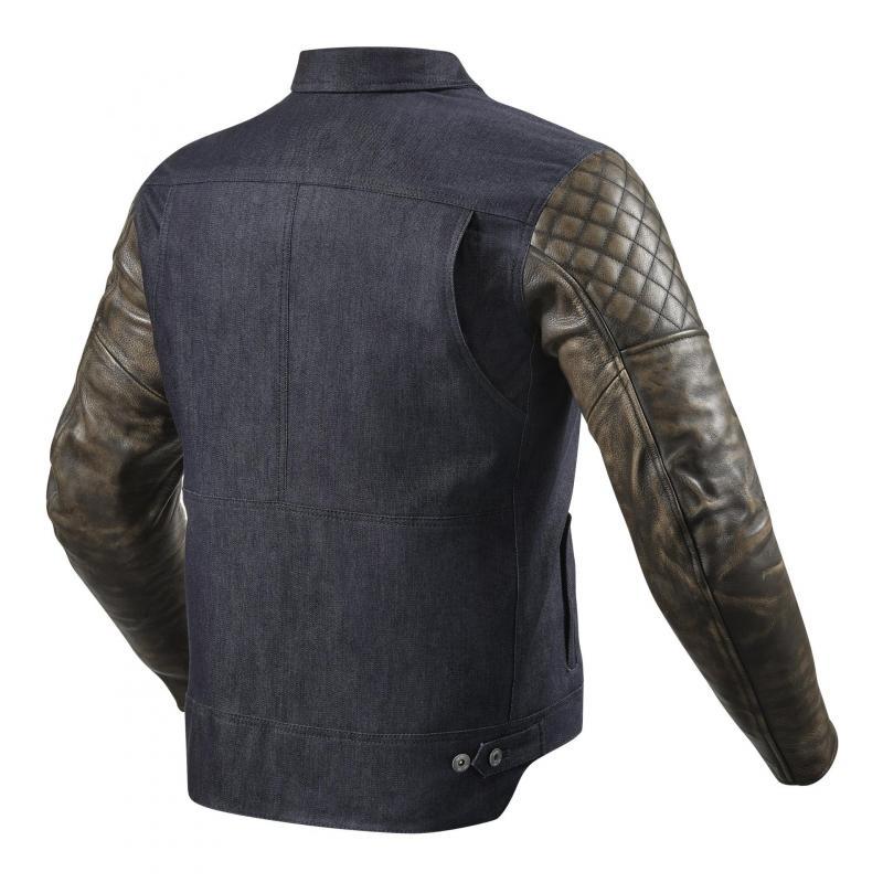 Blouson cuir/textile Rev'it Crossroads bleu/marron - 1