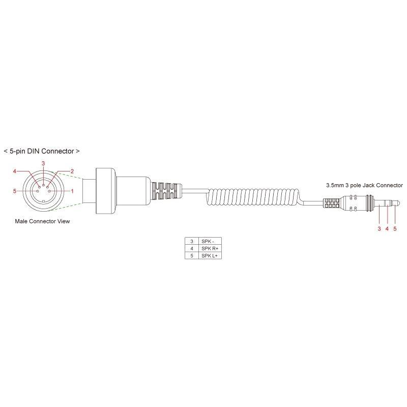 Câble Sena avec prise jack 3,5 mm et Din 5 broches pour Honda Goldwing après 1980 - 1