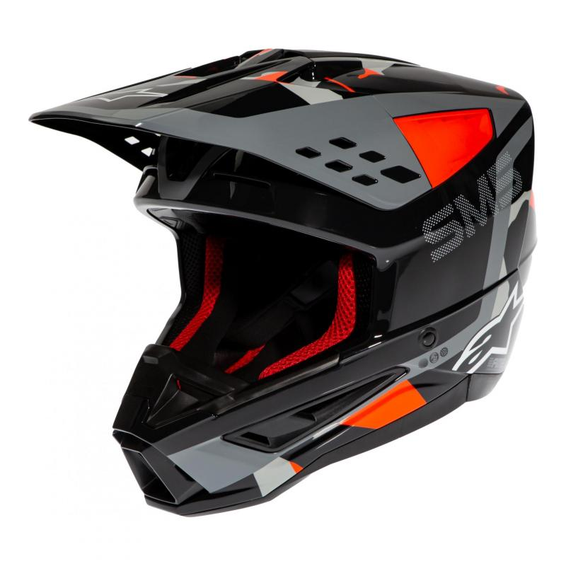 Casque cross Alpinestars S-M5 Rover anthracite/rouge fluo/gris camouflage brillant