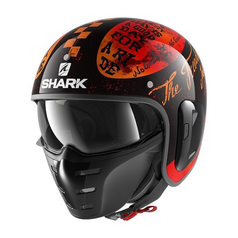 Casque jet Shark S-Drak 2 Tripp In noir/orange/orange