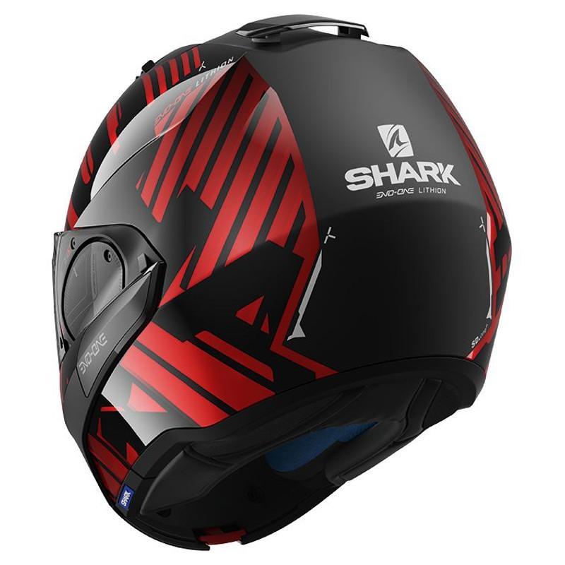 Casque modulable Shark EVO-ONE 2 LITHION DUAL noir/chrome/rouge - 1