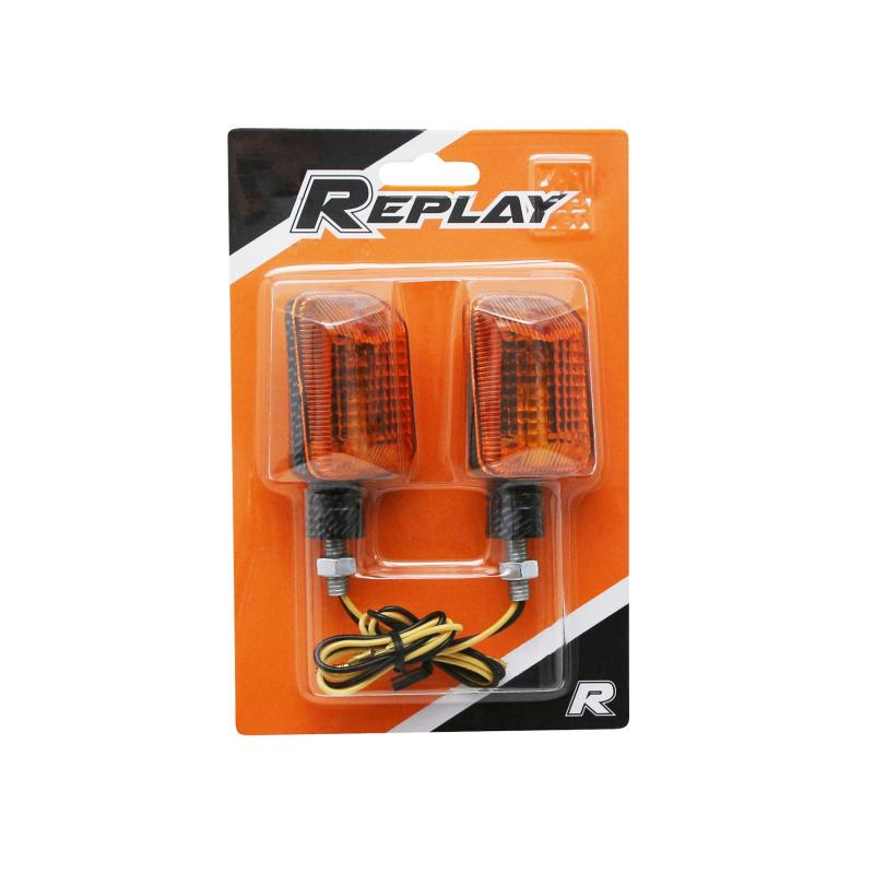 Clignotants Replay mini rectangle orange/carbone (paire) - 1