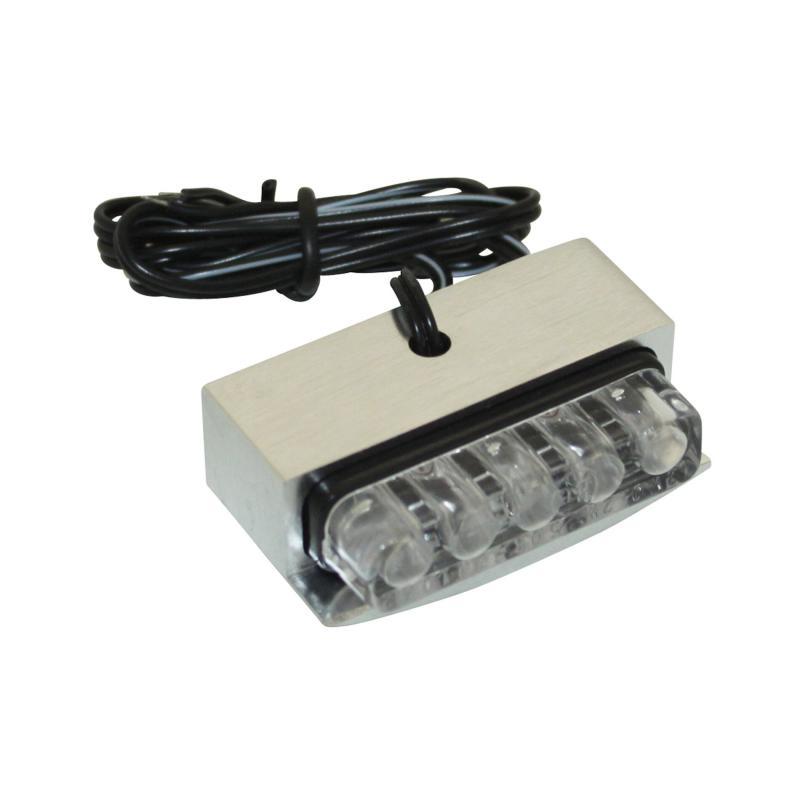 Éclairage de plaque immatriculation Replay transparent à 3 leds blanches corps alu CNC argent