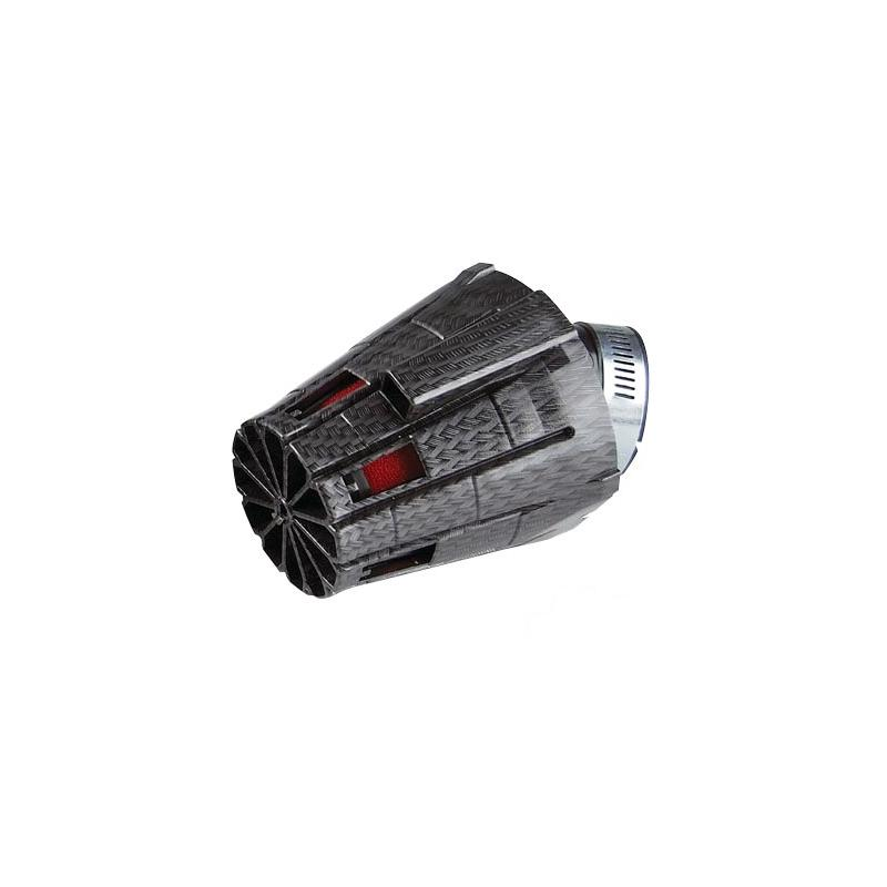 Filtre à Air Tun'R D28-35 E5 Coude45° Carbone Mat/Mousse Rouge