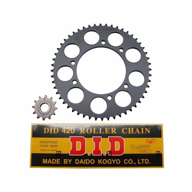 Kit chaîne DID pas 420 12x52 démultiplication d'origine avec roues bâtons adaptable XPS