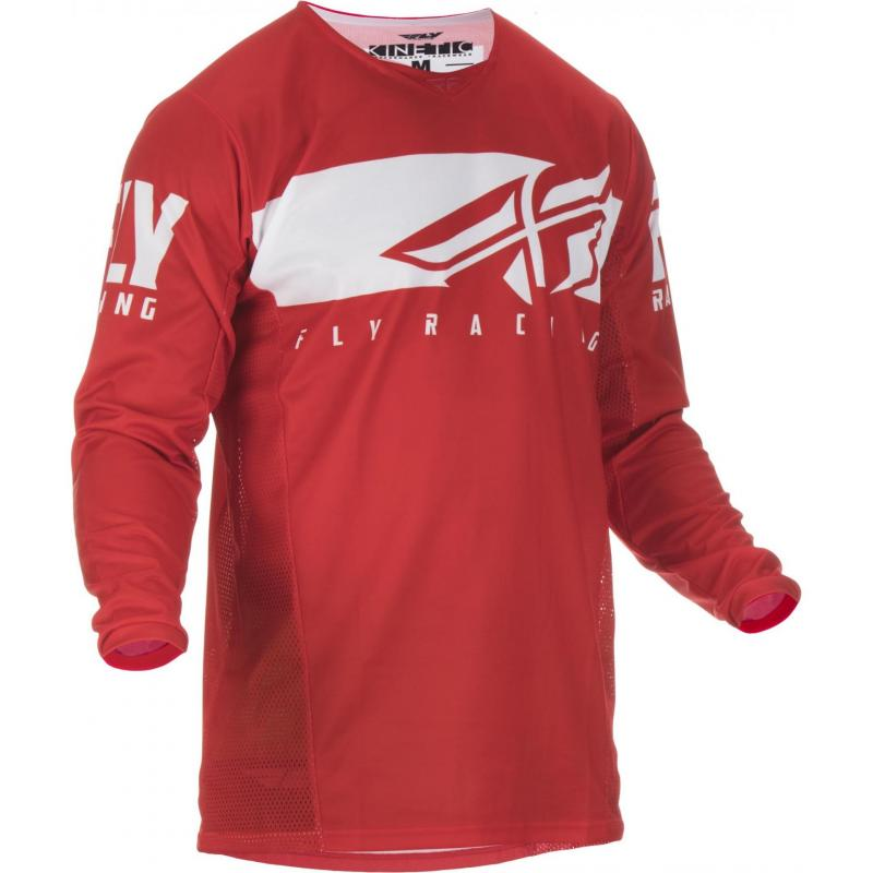 Maillot cross enfant Fly Racing Kinetic Shield rouge/blanc