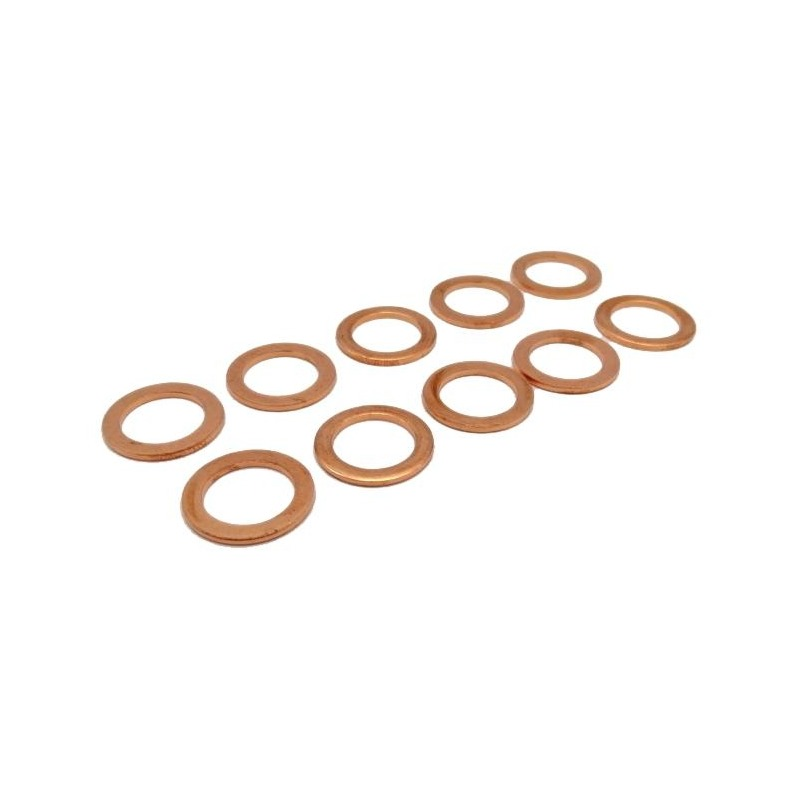 Pack de 10 joints de bouchon de vidange cuivre Ø14xØ20x1,5 mm