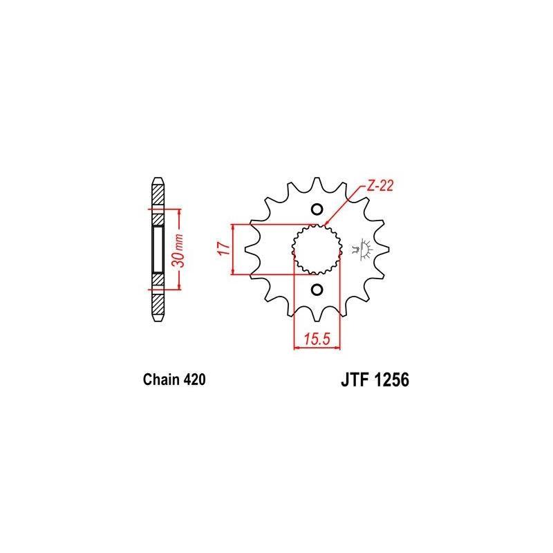 Pignon JT Sprockets Acier pas 420 14 dents - Pour Honda CR 85 R 03-07