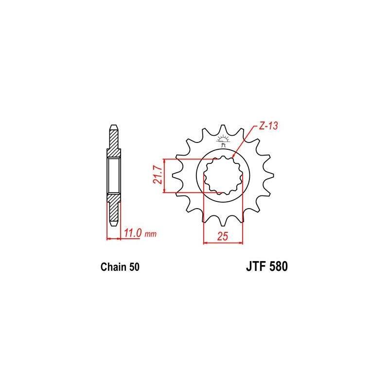 Pignon JT Sprockets Acier pas 530 16 dents - Pour Yamaha FZ 750 Genesis 87-91