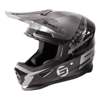 Casque cross Shot Furious Storm brillant noir/chrome