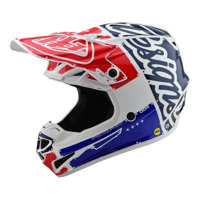 Casque cross Troy Lee Designs SE4 Polyacrylite Factory blanc/bleu