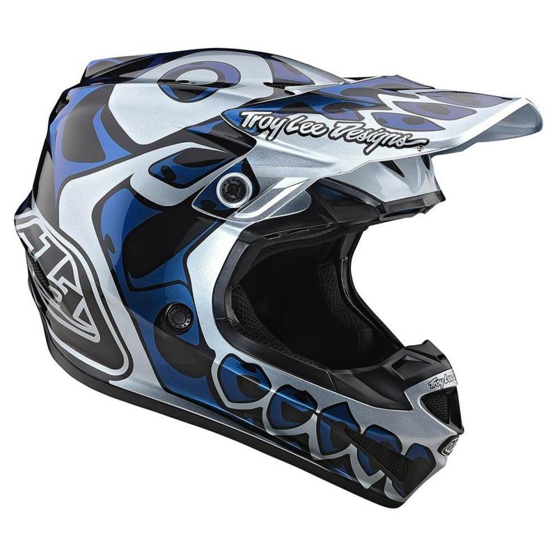 Casque cross Troy Lee Designs SE4 Polyacrylite Skully Mips argent - 3
