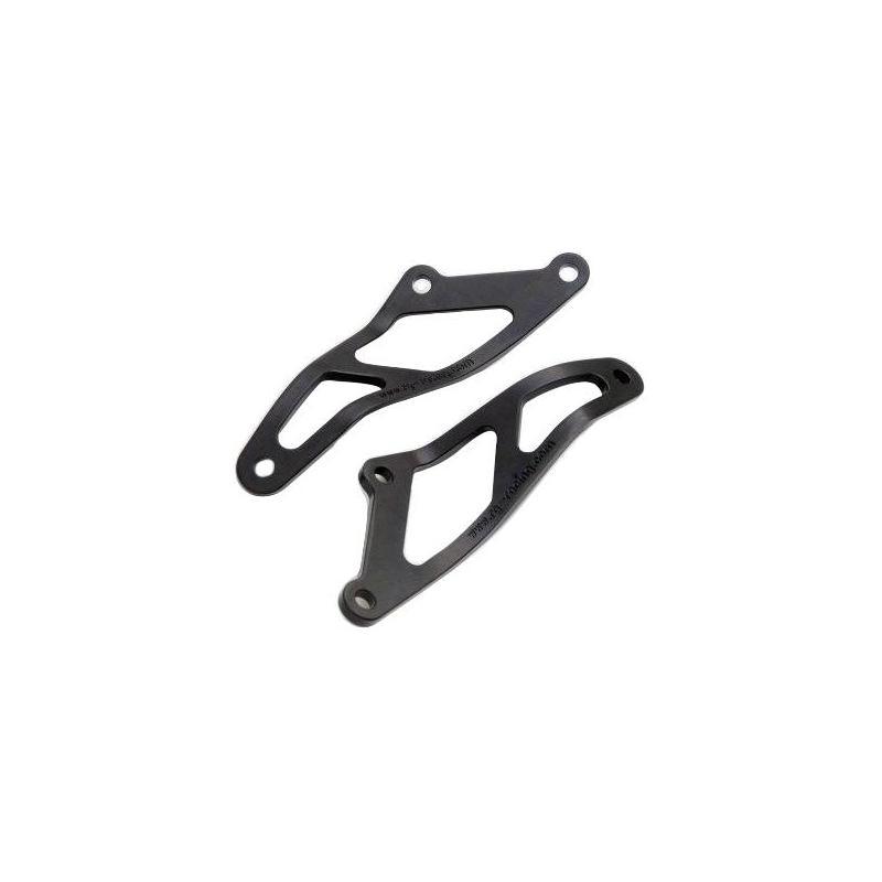 Pattes de fixation des silencieux R&G Racing noires Suzuki GSX-R 1000 07-08 la paire