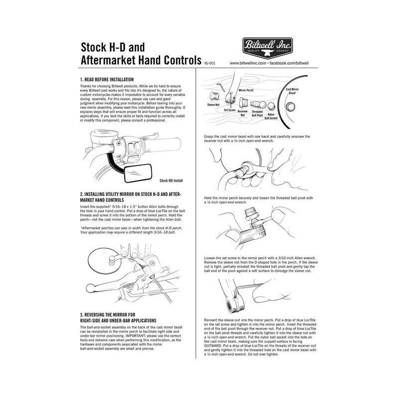 Rétroviseurs Biltwell rond noir fixation sur levier (paire) - 3