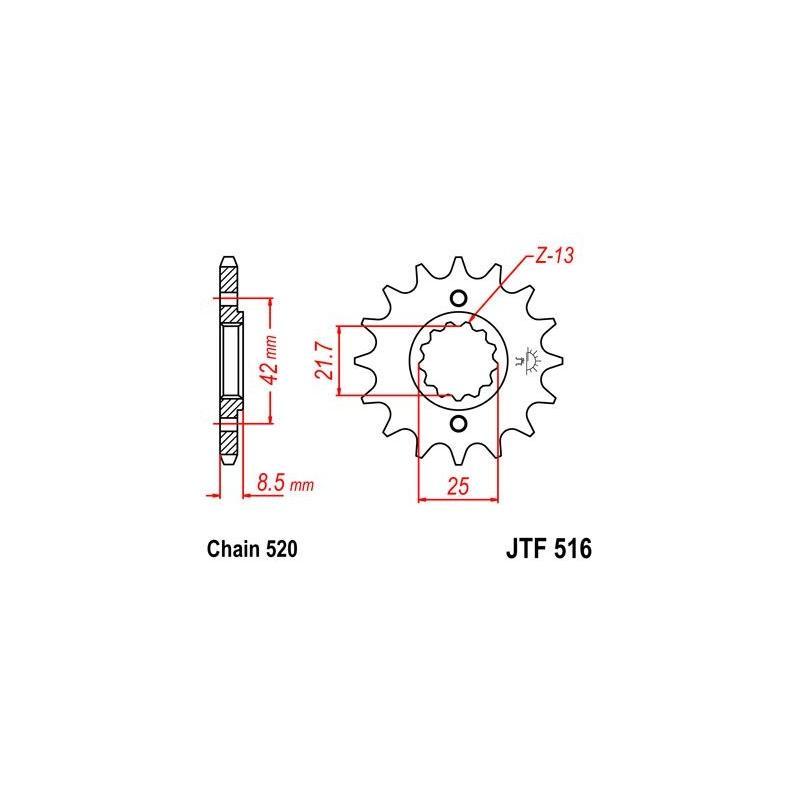 Pignon JT Sprockets Acier pas 520 15 dents - Pour Kawasaki KLR 650 87-90
