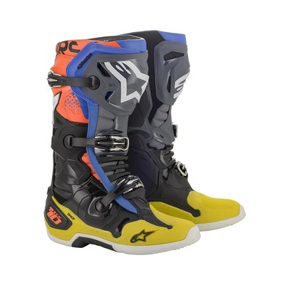 Bottes cross Alpinestars Tech 10 2021 noir/jaune/rouge fluo
