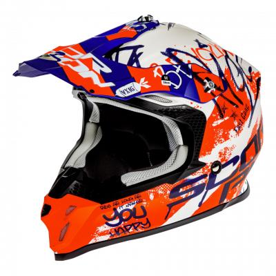 Casque cross Scorpion VX-16 Air Oration blanc/bleu/rouge mat