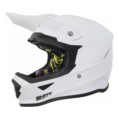 Casque cross Shot Furious Solid blanc brillant