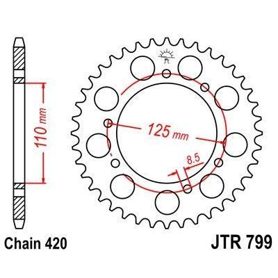 Couronne JT Sprockets Acier pas 420 50 dents - Pour Suzuki RMX 50 97-99