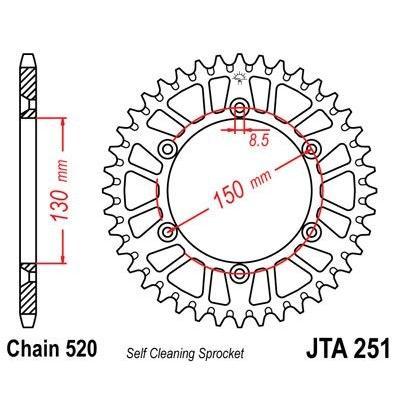 Couronne JT Sprockets Aluminium pas 520 50 dents - Pour Yamaha YZ-F 450 16-17