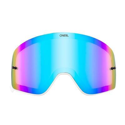 Écran O'Neal pour masque B 50 iridium bleu avec cadre blanc