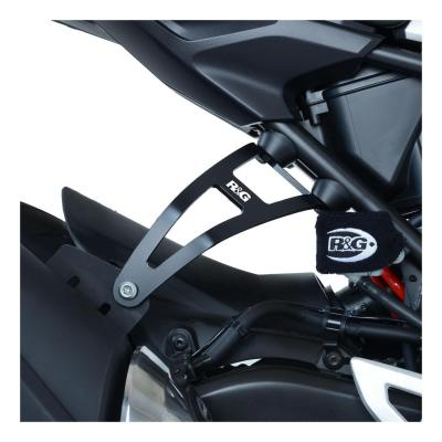 Cache orifice de repose-pieds passager + fixation échappement R&G Racing noir Honda CBR 300 R 19-20