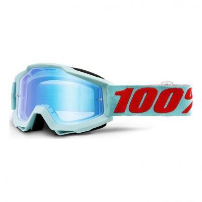 Masque cross 100% Accuri Maldives turquoise/rouge - écran miroir bleu
