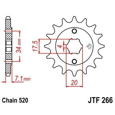 Pignon JT Sprockets Acier pas 520 13 dents - Pour Honda CR 125 R 79-85