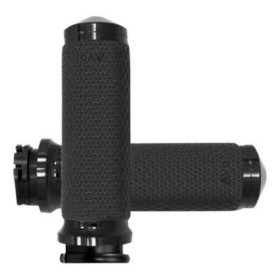 Poignées Avon Ø 38mm mémoire de formes tirage par câble embout arrondies Twin-Cam 99-17 noir