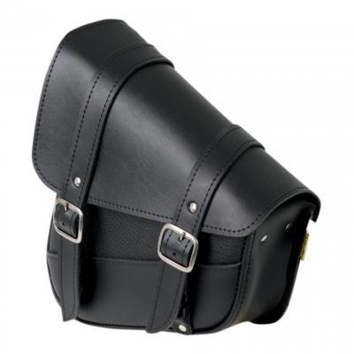 Sacoche gauche de bras oscillant Softail 00-17 Willie & Max noir double sangles boucle chrome