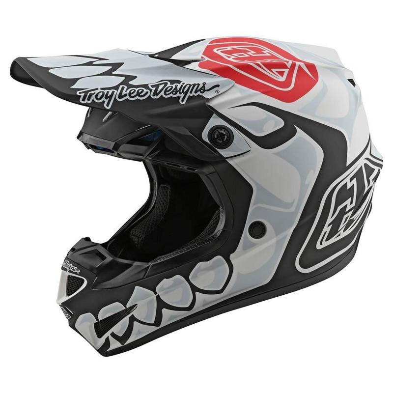 Casque cross Troy Lee Designs SE4 Polyacrylite Skully Mips blanc