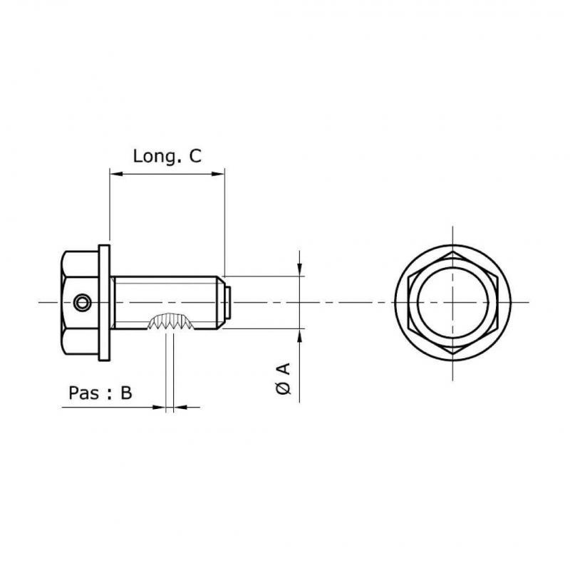 Bouchon de vidange d'huile moteur Tecnium aluminium aimanté Ø M14 x 1,25 x 13,5 mm - 1