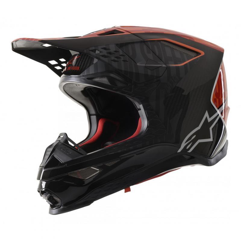 Casque cross Alpinestars Supertech S-M10 Alloy noir/orange fluo/rouge mat et brillant