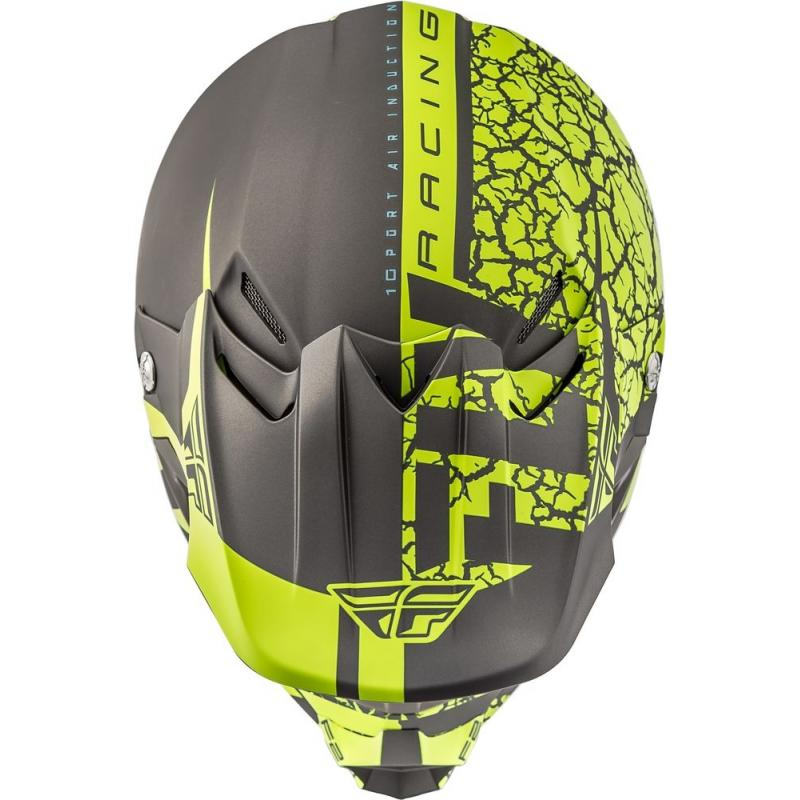 Casque cross Fly Racing F2 Carbon Fracture gris/jaune fluo - 3