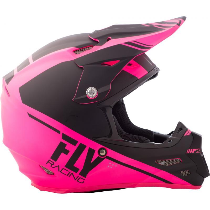 Casque cross Fly Racing F2 Carbon Rewire noir/rose - 1