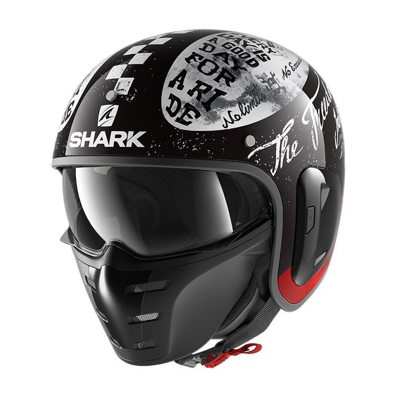 Casque jet Shark S-Drak 2 Tripp In noir/blanc/rouge