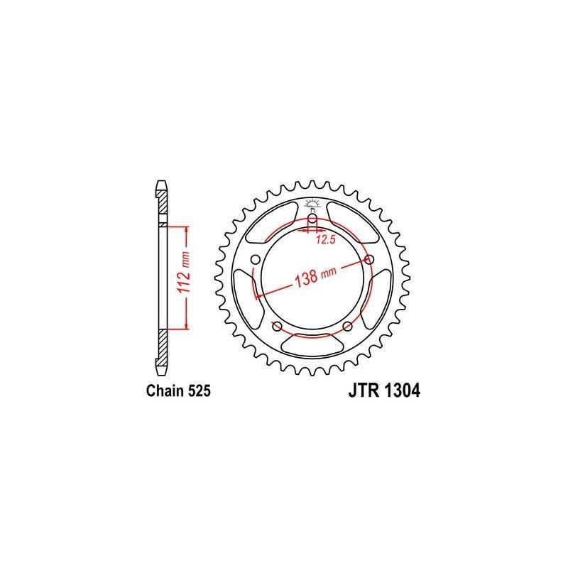 Couronne JT Sprockets Acier pas 525 44 dents - Pour Honda CBR 600 F 99-00