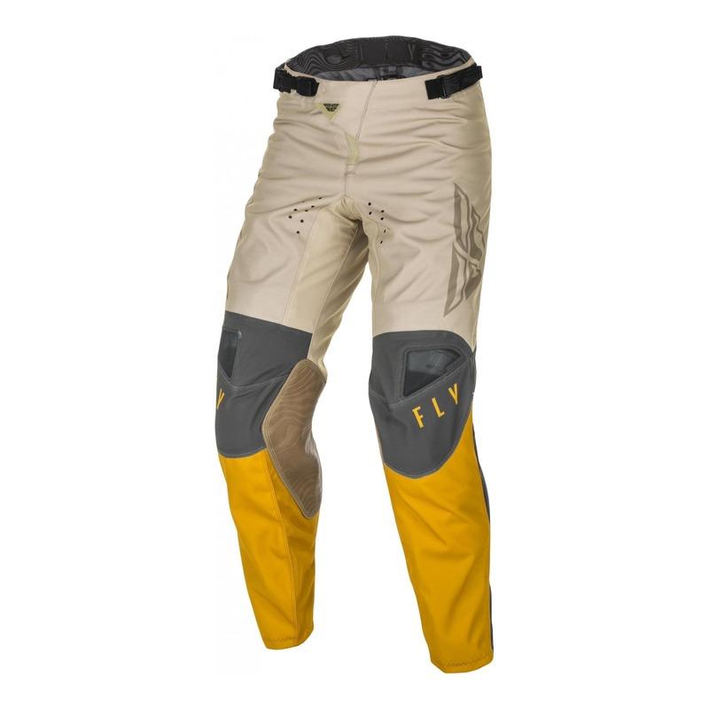 Pantalon cross Fly Racing Kinetic K121 moutarde/stone/gris