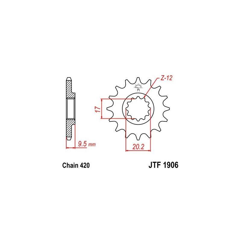 Pignon JT Sprockets Acier pas 420 14 dents - Pour KTM SX 65 04-17