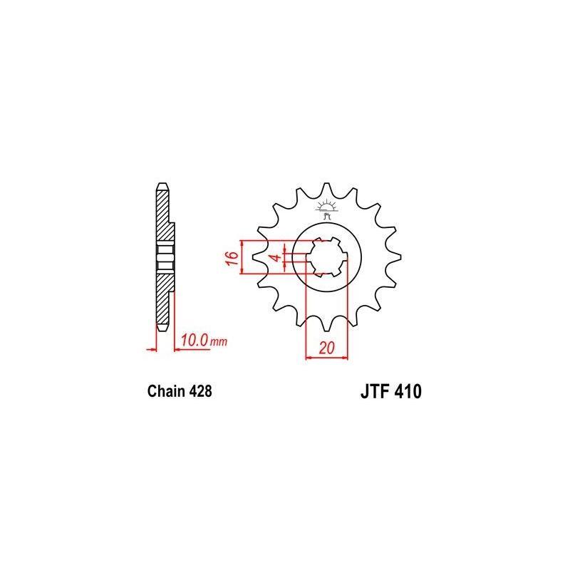 Pignon JT Sprockets Acier pas 428 15 dents - Pour Suzuki GZ 125 Marauder 98-11