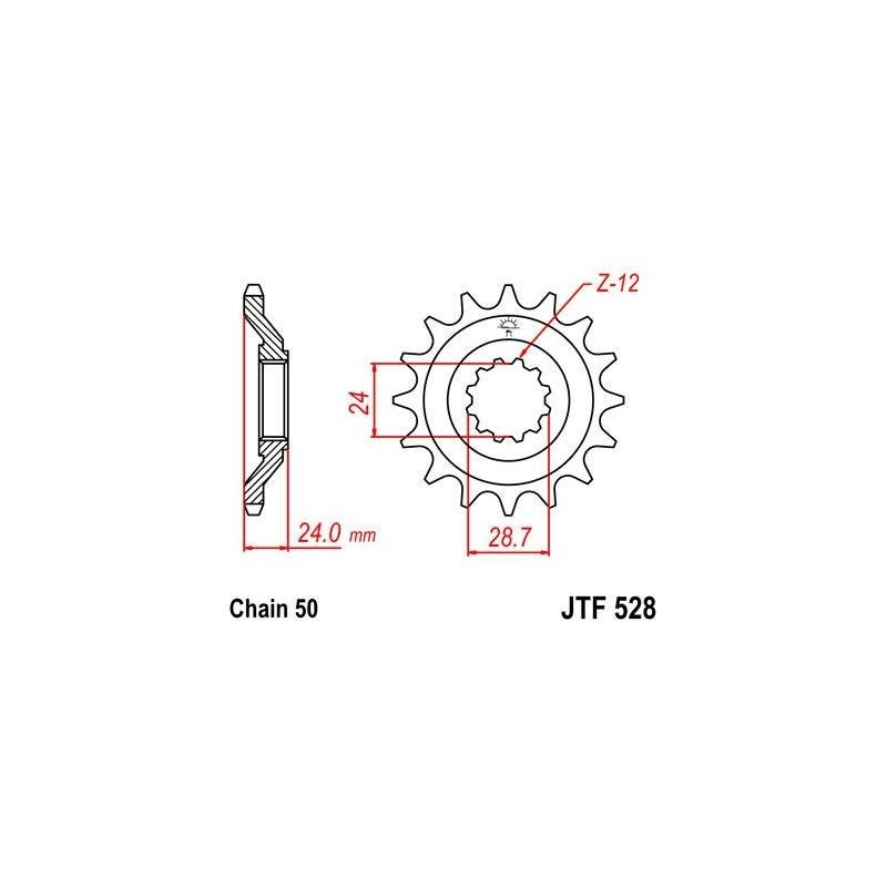 Pignon JT Sprockets Acier pas 530 17 dents - Pour Kawasaki ZZ-R 1100 90-92