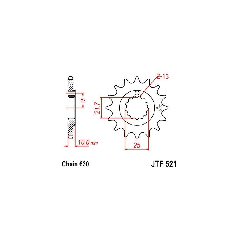 Pignon JT Sprockets Acier pas 630 15 dents - Pour Kawasaki Z1000 77-80