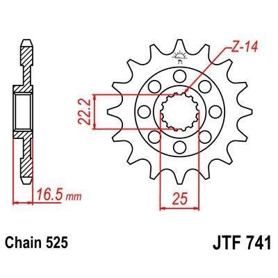 Pignon JT Sprockets Acier pas 525 15 dents - Pour Ducati Diavel 1198 11-16