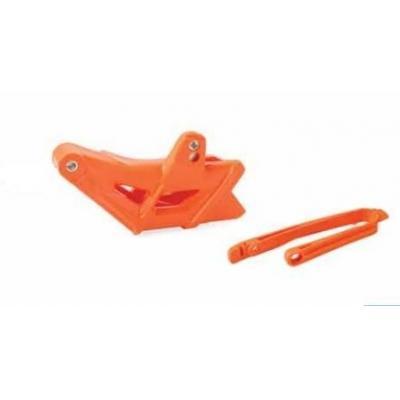 Kit guide chaîne et patin de bras oscillant Polisport KTM 450 SX-F 16-17 orange