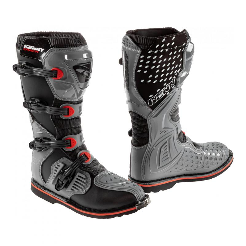 Bottes cross Kenny Track gris/rouge