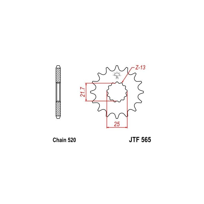 Pignon JT Sprockets Acier pas 520 16 dents - Pour Yamaha XT 500 77-85