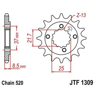 Pignon JT Sprockets Acier pas 520 13 dents - Pour Honda XR 650 L 93-16