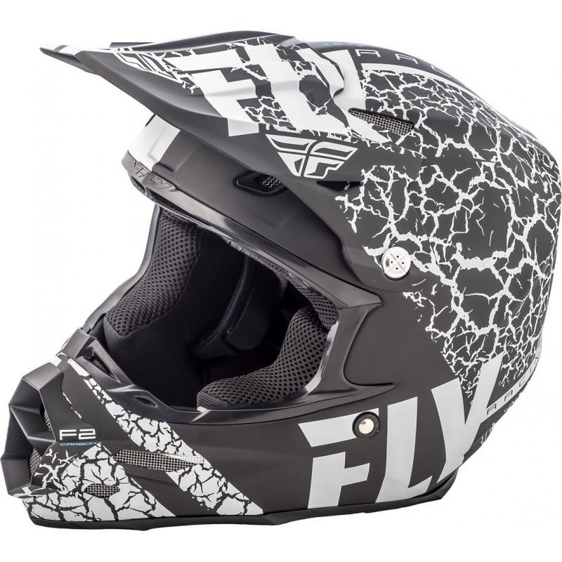 Casque cross Fly Racing F2 Carbon Fracture noir/blanc mat