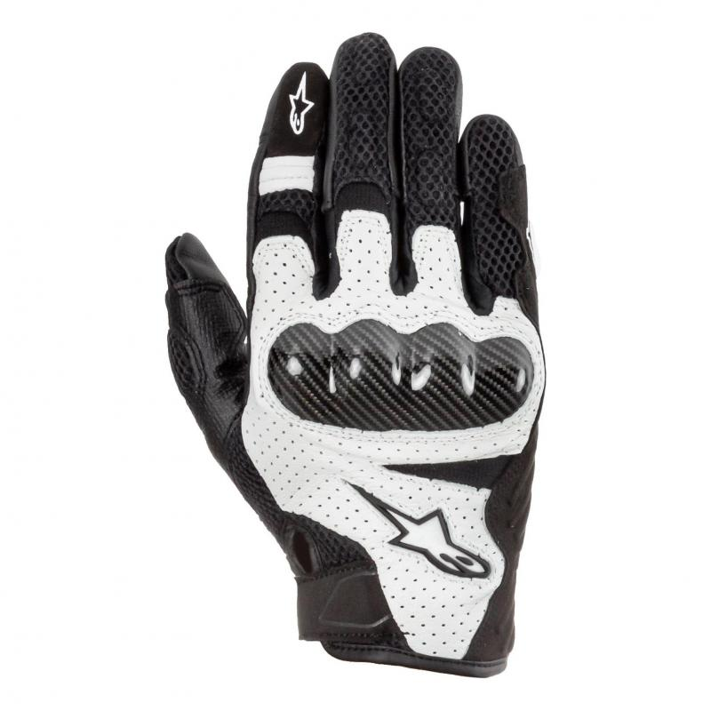 Gants textile/cuir Alpinestars SMX-1 Air V2 noir/blanc